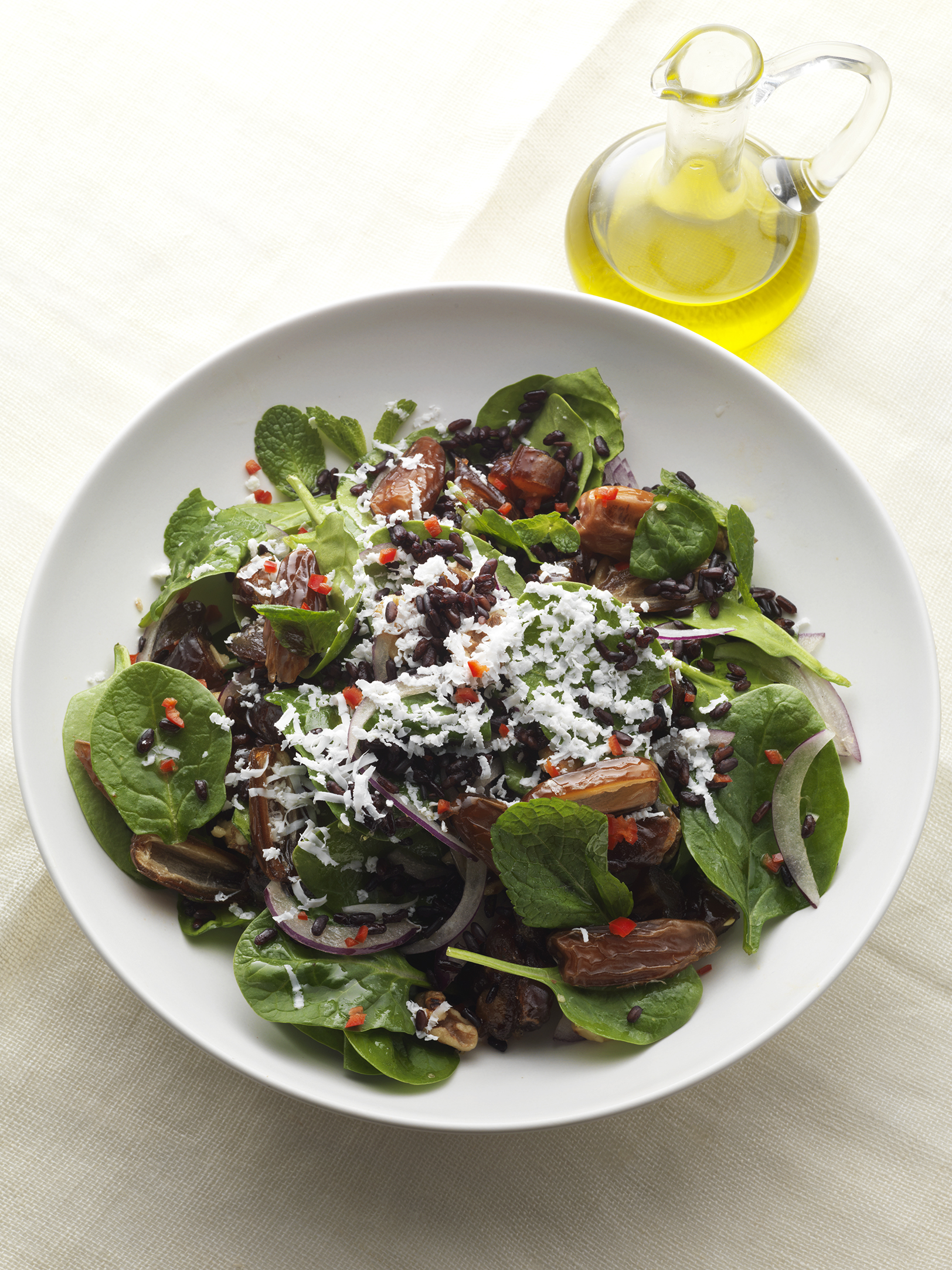 Baby spinach, date , feta and black rice salad