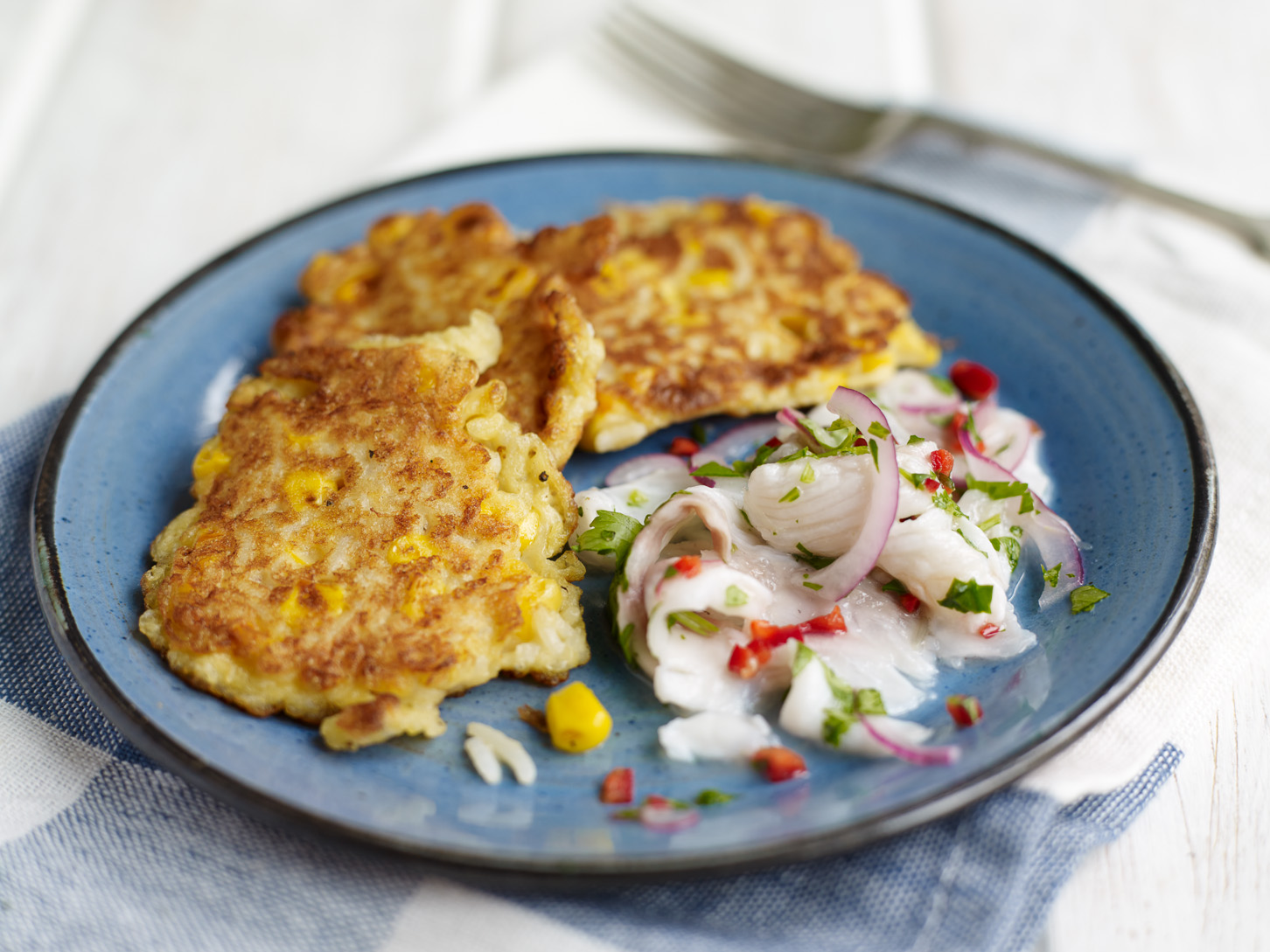 Corn & rice pancakes with seabass ceviche
