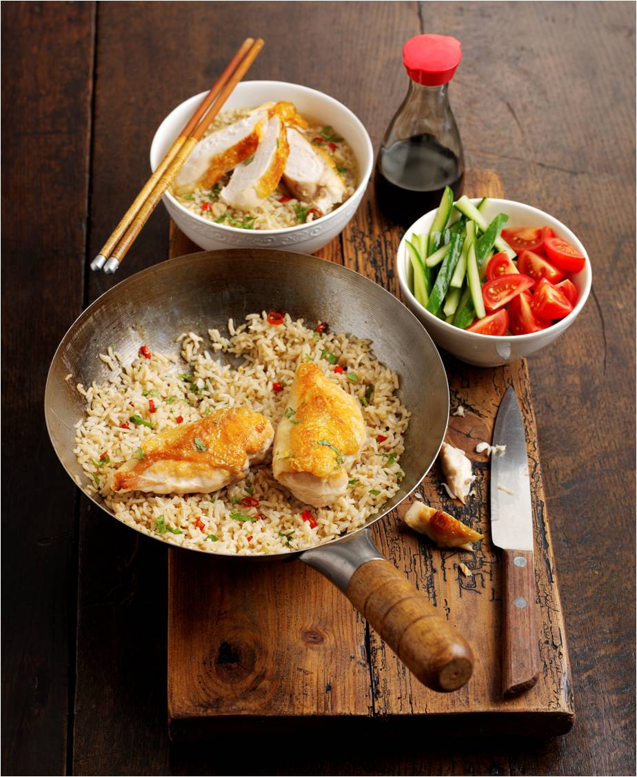 Hainan chicken with wholegrain rice