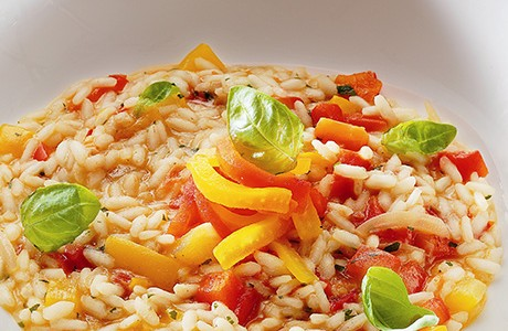 Risotto with Yellow and Red Peppers