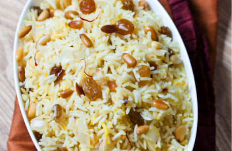 Saffron Rice with Golden Raisins and Pine Nuts - Love Rice ...