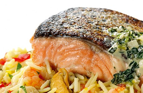 Salmon on Paella rice with Watercress Sauce
