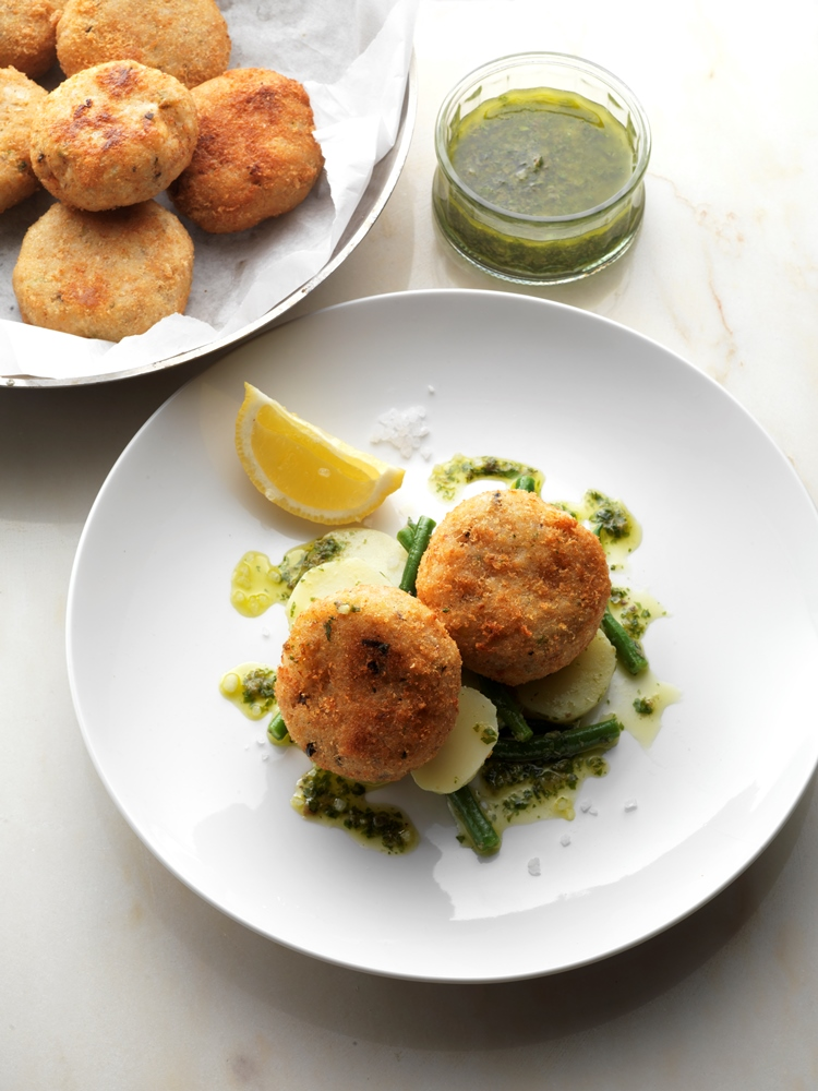 Salt Cod risotto cakes with lemon and olives