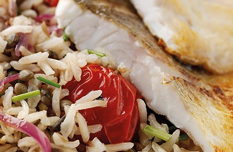 Sea Bass with Warm Rice and Lentil Salad