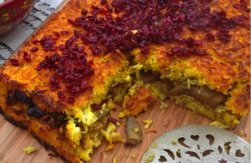 Vegetarian Persian Style Rice Cake